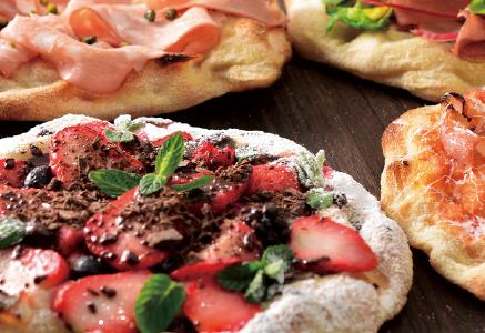 ピザの定番メニューから、デザートやオリジナルメニューまで幅広い展開が可能